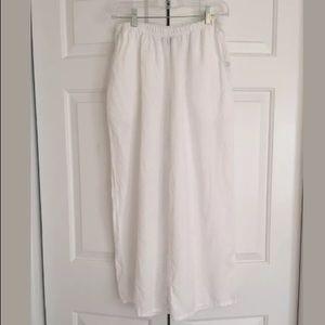 FLAX White Linen Wide Leg Crop Capri Pants Sz S